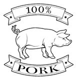 Pork 100 percent label. With pig or and reading 100 percent pork Stock Photos