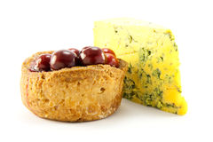Pork Pie and Blue Cheese. Single pork with with cranberries on the top with a slice of blue cheese, with clipping path on a white background Stock Images
