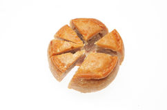 Pork pie chart. Cut pork pie as a pie chart Stock Image
