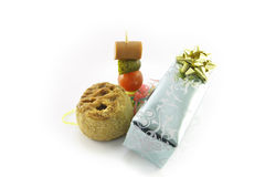 Pork Pie with Cocktail Stick and Gift Royalty Free Stock Photo