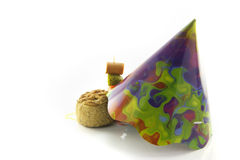 Pork Pie with Cocktail Stick and Party Hat Stock Images