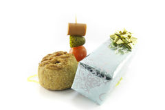 Pork Pie and Gift with Cocktail Stick Stock Photos