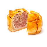Pork pie isolated on a white studio background. Stock Photos