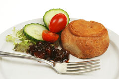 Pork pie and salad Stock Images