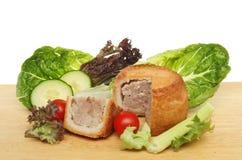 Pork pie and salad Royalty Free Stock Photos