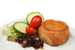 Pork pie salad and pickle Stock Image