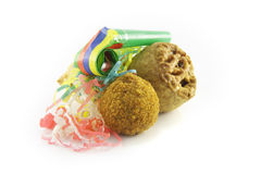Pork Pie and Scotch Egg with Party Blower Royalty Free Stock Photos