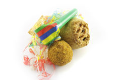 Pork Pie and Scotch Egg with Party Blower Stock Image
