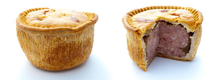 Pork Pies. Two pork pies separately isolated on white, one whole and the other with a slice cut away Stock Image