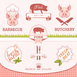Pork, pig, animal silhouette, product Stock Images