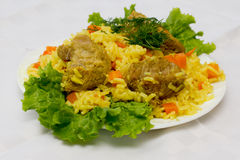 Pork pilaf on plate Royalty Free Stock Photography