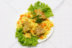 Pork pilaf on plate Royalty Free Stock Images