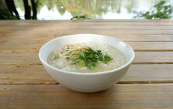 Pork porridge with ginger and Royalty Free Stock Images
