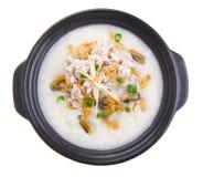 Pork porridge rice gruel served in claypot Royalty Free Stock Image