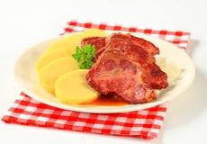 Pork with potato dumplings and sauerkraut Royalty Free Stock Photo