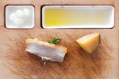 Pork Potato Platter. Pork Potato on platter with fork and knife Stock Image