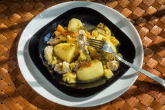 Pork with potatoes and vegetables Royalty Free Stock Photography