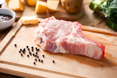 Pork prepare for make pork chop Stock Photos