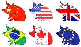 Pork producing countries Royalty Free Stock Photo
