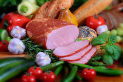 Pork products. Photo of the polish ham Royalty Free Stock Photography
