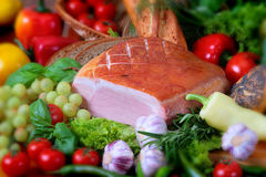 Pork products. Photo of the polish ham Stock Photography