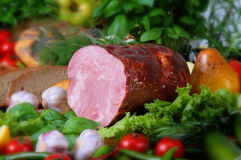 Pork products. Photo of the polish ham Stock Image