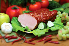 Pork products. Photo of the polish ham Royalty Free Stock Images