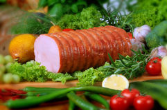 Pork products. Photo of the polish ham, sausage and others pork products Royalty Free Stock Photography