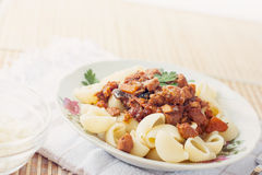 Pork Ragu with Pipe Pasta Stock Image