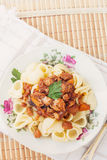 Pork Ragu with Pipe Pasta Royalty Free Stock Photo