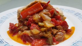 Pork recipe with vegetables. Stock Photo