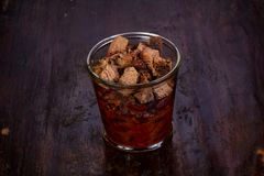 Pork with beans. Pork with red beans in the glass stock images