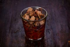 Pork with beans. Pork with red beans in the glass stock image