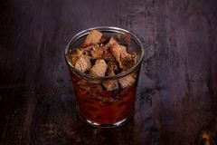 Pork with beans. Pork with red beans in the glass stock photo