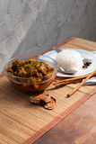 Pork Rib and rice with spicy curry Stock Image
