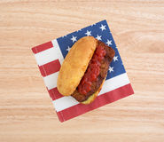 Pork rib sandwich on a patriotic napkin Royalty Free Stock Photography