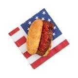 Pork rib sandwich on a patriotic napkin Royalty Free Stock Photos