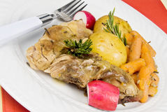 Pork Ribs. Country style in ale-sauce served with gold potatoes, baby carrots, radishes. Rosemary sprigs for garnishment Royalty Free Stock Photos