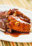 Pork ribs & chicken wings with bbq sauce Royalty Free Stock Photography