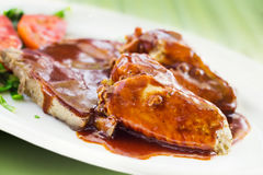 Pork ribs & chicken wings with bbq sauce Stock Photo