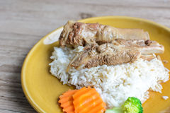 Pork ribs with cooked rice Royalty Free Stock Photo