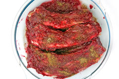 Pork ribs in cranberry sauce Stock Images