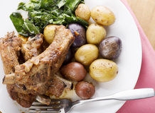 Pork Ribs with Fingerling Potatoes Royalty Free Stock Photos