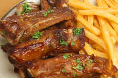 Pork Ribs & Fries Royalty Free Stock Photography