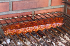 Pork ribs on grill Royalty Free Stock Photos