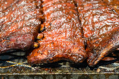 Pork Ribs on the Grill Royalty Free Stock Photos