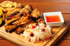 Pork ribs meat snacks board for beer Stock Images