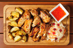 Pork ribs meat snacks board for beer Stock Photography