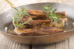 Pork ribs in a pan Royalty Free Stock Images