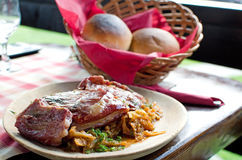Pork ribs and pickled cabbage - Romanian recipe royalty free stock images